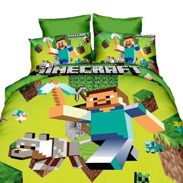 Σετ Παπλωματοθήκη - Σεντόνι - Μαξιλαροθήκη Minecraft